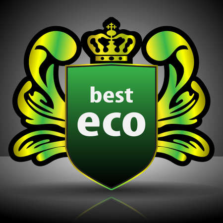 winged: Winged Crest  Green Eco Label or Badge Template