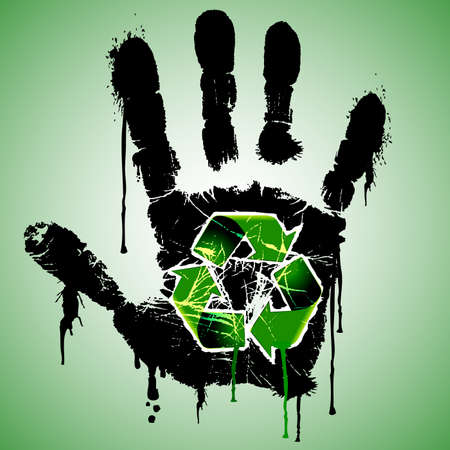 ecological damage: Stop Pollution  Dirty Hand with Recycling Symbol Ecological Concept
