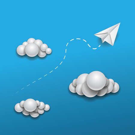 toy plane: Paper Plane Flying in the Clouds  Abstract Background Design Illustration