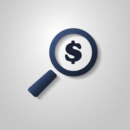 dollar sign icon: Business Analysis Symbol with Dollar Sign and Magnifying Glass Icon Illustration