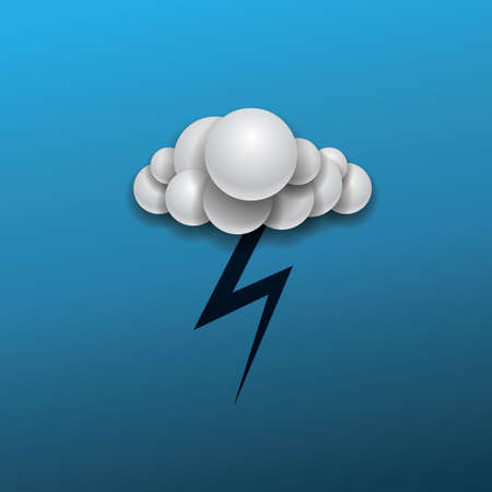 ball lightning: Abstract Weather Icon Design  Cloud and Lightning in The Dark Blue Sky Illustration