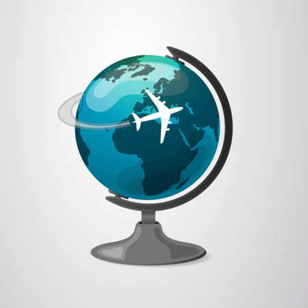 wordwide: Earth Globe Design with Airplane Illustration