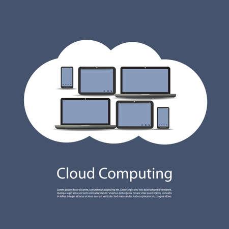Cloud Computing Concept Design Vector