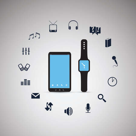 round icons: Electronic Devices  Mobile Phone with Smart Watch  Cloud Computing Design