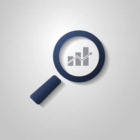 Business Analysis Symbol with Magnifying Glass Icon and Chart