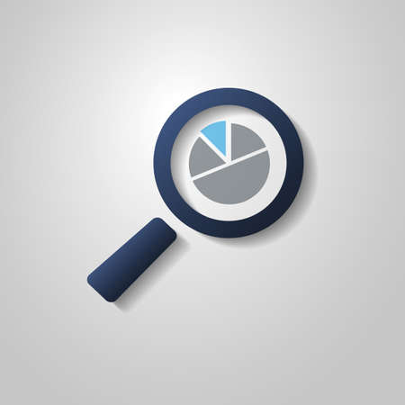 Business Analysis Symbol with Magnifying Glass Icon and Pie Chart Vector