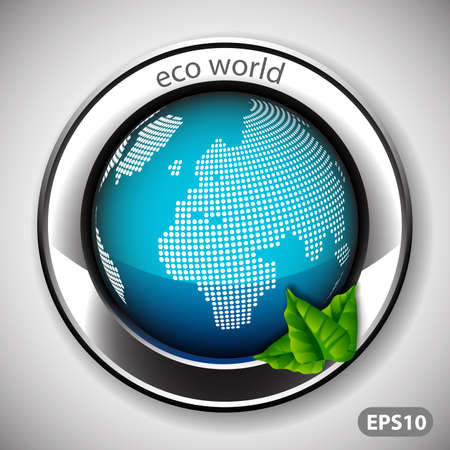 seal stamper: Eco World  Label with Earth Globe Illustration
