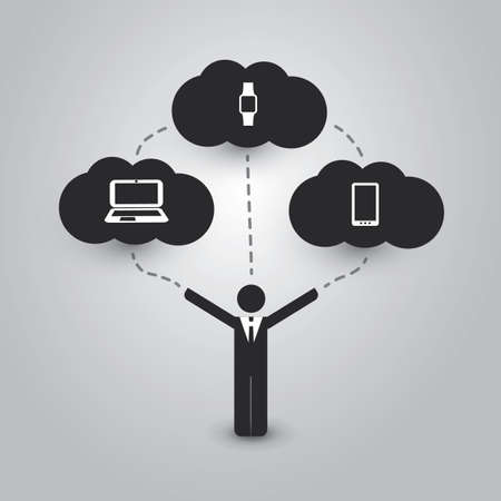 informatics: Cloud Computing Concept with Different Devices: Laptop, Tablet PC, Smart Phone, Smart Watch