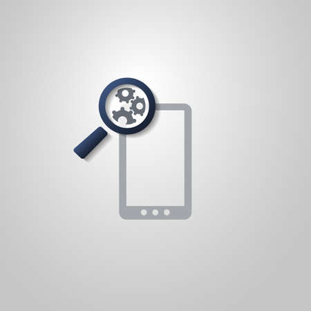 Analysis or Bugfix Symbol Concept with Magnifying Glass Icon with Gears and Smart Phone Vector