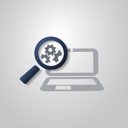 Analysis or Bugfix Symbol Concept with Magnifying Glass Icon with Gears and Laptop Computer Vector