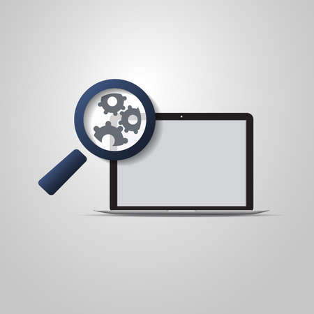 parameter: Analysis or Bugfix Symbol Concept with Magnifying Glass Icon and Gears on a Laptop Computer Illustration