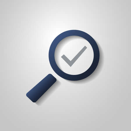 Checkmark Icon with Magnifying Glass  Flat Style Design Vector