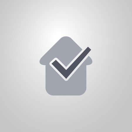 Sold  Real Estate Icon with Checkmark  Flat Design Vector