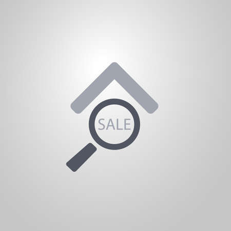 looking for: Real Estate Icon Design  Looking for a House for Sale  Flat Symbol