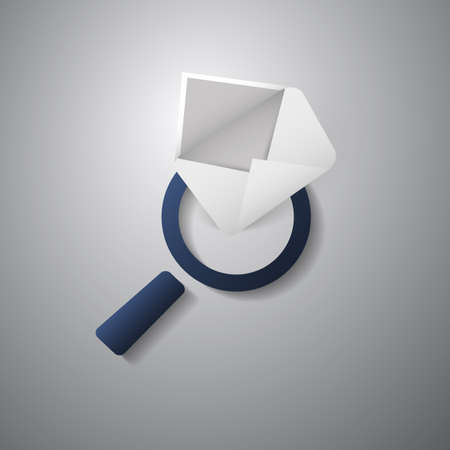 select all: Mail or Email Icon Design with Magnifying Glass Illustration