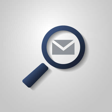 select all: Mail or Email Icon Design with Magnifying Glass Symbol Illustration