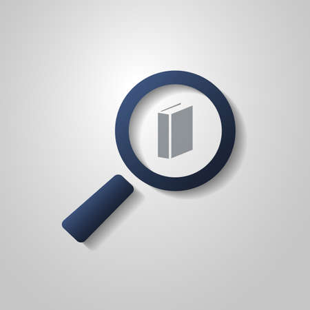 select all: Book Icon Design with Magnifying Glass Symbol Illustration