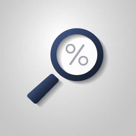 consider numbers: Magnifying Glass with Percentage Sign Inside  Find the Best Offer Illustration