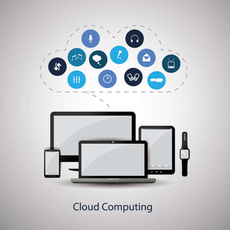 Cloud Computing Concept Design with Mobile Devices and Icons Cloud Illustration