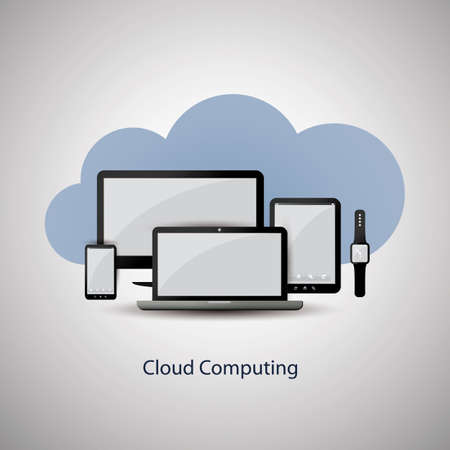 Cloud Computing Concept Design with Mobile Devices and Cloud Background Vector