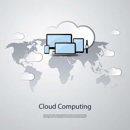 tags cloud: Cloud Computing Concept Design with Mobile Devices and World Map Illustration