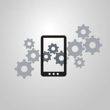 Analysis or Bugfix Symbol Concept with Magnifying Glass Icon Gears and Smart Phone Vector