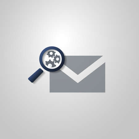 select all: Mail or Email Icon Design with Magnifying Glass and Gears Illustration