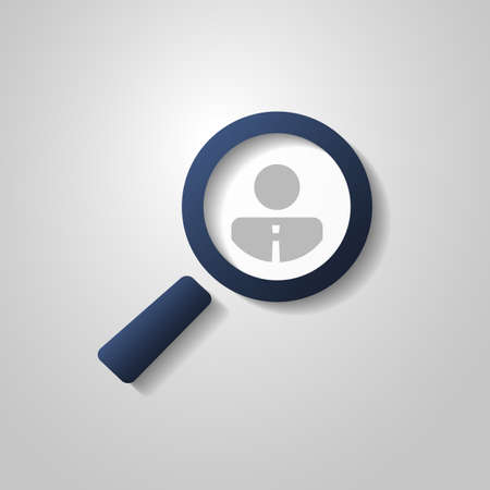 headhunter: Human Resources  Personal Audit  Headhunter Symbol Design with Magnifier Icon