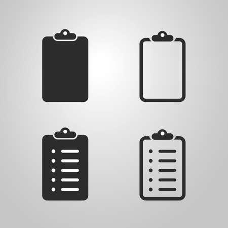 todo: Checklist Icon Design Set  Black and White and Linear Version Illustration