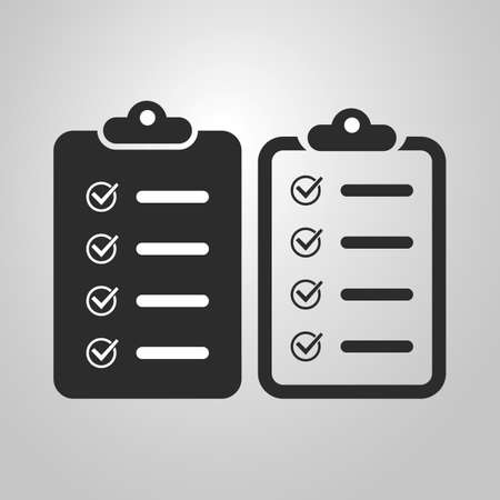 Black and White Checklist Icon Design Set Ilustração