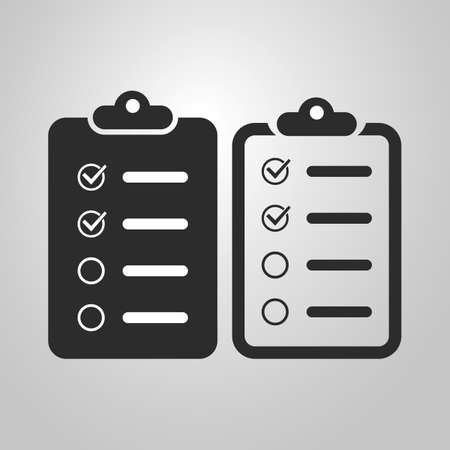 Black and White Checklist Icon Design Set Vector