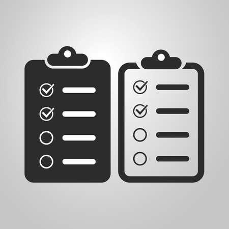 todo: Black and White Checklist Icon Design Set Illustration