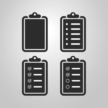 Black and White Checklist Icon Design Set Vector