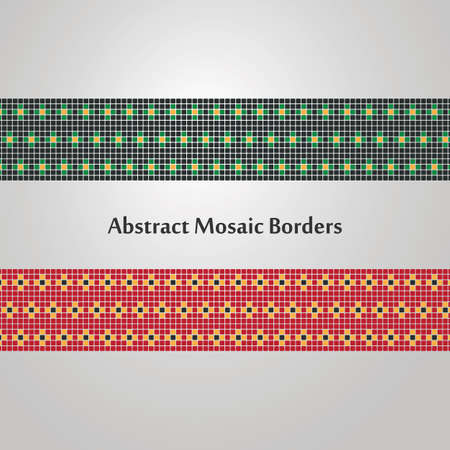 decoration elements: Abstract Colorful Mosaic Border Designs  Different Decoration Elements Illustration