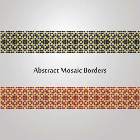 meander: Abstract Colorful Mosaic Border Designs  Different Decoration Elements Illustration