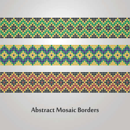 Abstract Colorful Mosaic Border Designs  Different Decoration Elements Vector