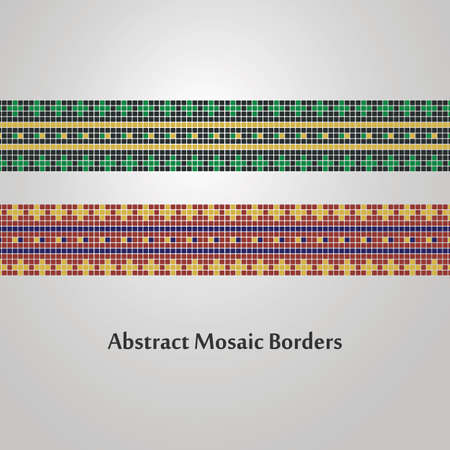 thick: Abstract Colorful Mosaic Border Designs  Different Decoration Elements Illustration