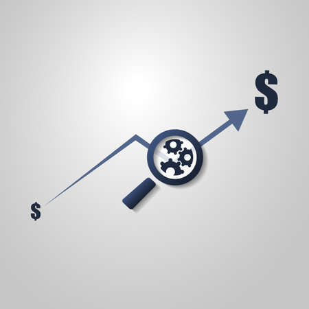 Business Analysis Symbol Concept with Magnifying Glass Icon and Gears Vector