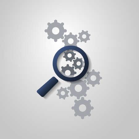 Analyse d'affaires ou de problème à trouver Symbole Concept avec Agrandissement Icône et Gears verre Banque d'images - 40027187