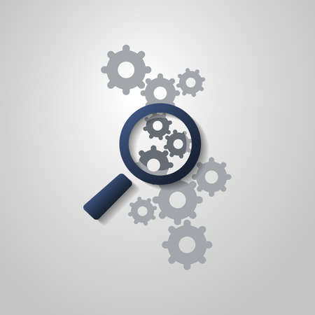 finding: Business Analysis or  Problem Finding Symbol Concept with Magnifying Glass Icon and Gears Illustration