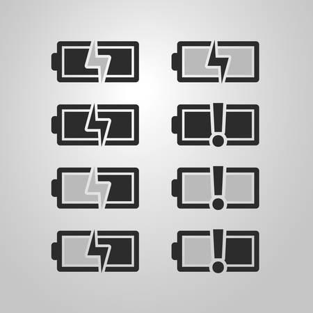 warning indicator: Black and White Battery Icon Set Designs Illustration