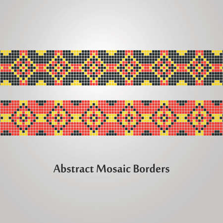border designs: Abstract Colorful Mosaic Border Designs  Different Decoration Elements Illustration