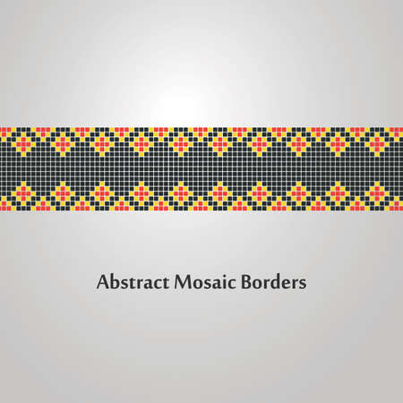 colorfu: Abstract Colorfu Mosaic Border Design  Decoration Element