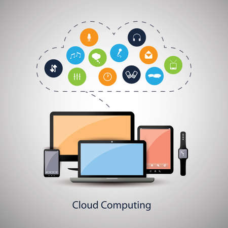 it tech: Cloud Computing Concept Design with Icons in the Cloud Representing Various Kinds of Digital Media and Storage Services