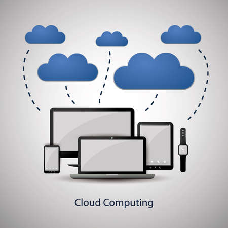 Cloud Computing Concept Design with Mobile Devices Connected to the Cloud Vector