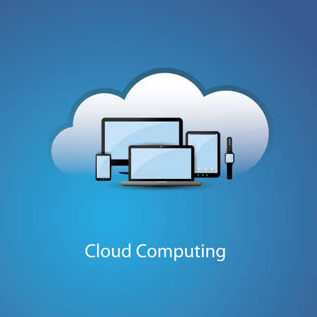 cloud computing services: Vector  Cloud Computing Concept Design with Mobile Devices and Cloud Background Illustration