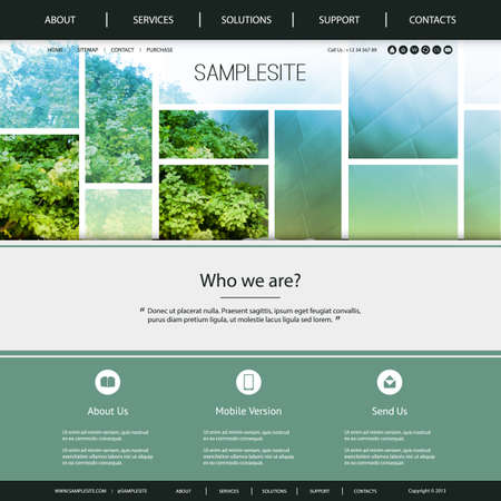 Website Design for Your Business with Green and Blue Tiled Natural Header Design