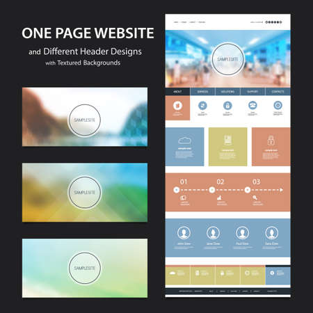 web: One Page Website Template and Different Header Designs with Blurred Backgrounds