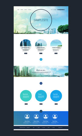 One Page Website Template with Cityscape Skyline Header Design Vector