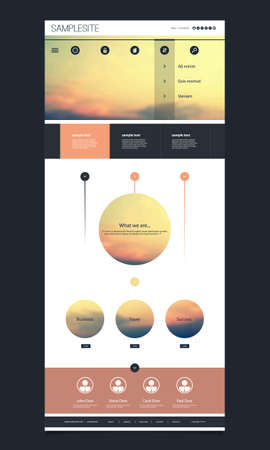One Page Website Template with Sunset Image Header Design Vector